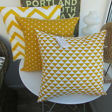 CUSHION COVER COTTON FABRIC GEOMETRIC OCHRE YELLOW MUSTARD GOLD TRIANGLE URBAN ,
