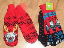 mens mittens & cozy socks ~ holiday ~ funny  gnome - ugly sweater