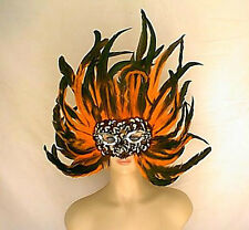 "Giant 18"" x 23"" Orange + Black Coque Feather Mask  Headpiece Style Handmade"