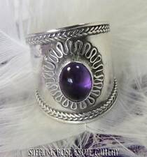 CIGAR BAND AMETHYST Sterling Silver 925 Estate HAND CRAFTED COCKTAIL RING size 5