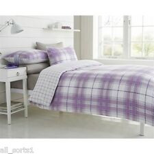 SINGLE BED SIZE DUVET SET WHITE TARTAN PRINT SQUARES CHECKED LINES LILAC PURPLE