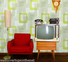 Grey, Cream & Lime Green, 1960's Retro, Paste the Wall, Designer Wallpaper