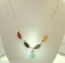 """STER Silver Genuine Baltic Sea Mixed Marquise Amber Larimar Gems Necklace 18"""" #1"""