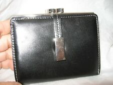 Mundi Genuine Leather Silver Frame French Purse,Black