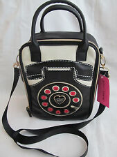 New Betsey Johnson Telephone Black Pink Insulated Lunch Tote Bag Purse Medium
