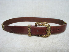 FOSSIL -Women's Vintage Casual Fashion Belt -Brown Leather Brass Decor -Size XS