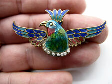 Victorian Watch Pin - Enameled Bird with Seed Pearls