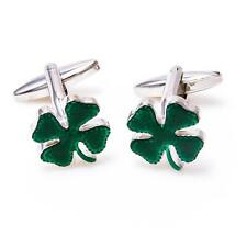 Clover Green Irish Ireland Shamrock Pair of Cufflinks Wedding Gift Box Free Ship