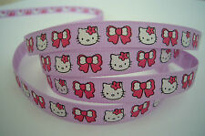 "5 Metres ❤ Hello Kitty Face & Bow purple ❤  grosgrain ribbon 3/8"" 9mm wide"