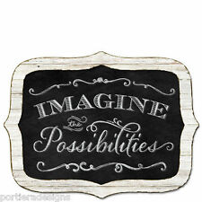 Framed Wooden Chalkboard Sign Wall Plaque IMAGINE The Possibilities