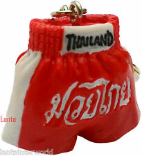 Muay Thai Kick Boxing Thailand Keyring Fob Chain Red Shorts Lucky Charm
