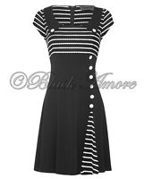 NEW VINTAGE CLASSY RETRO 60 BLACK WHITE DRESS OPTICAL AUDREY STYLE EVENING PARTY