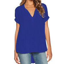 Women Summer V-Neck Tops T-shirt Casual Loose Blouse Tee Plus Size#L