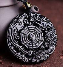 100% Natural Obsidian Hand Carved Dragon Phoenix Lucky Pendant + Free Necklace