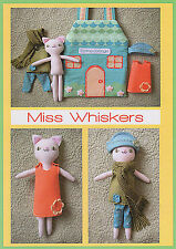MISS WHISKERS PLAYHOUSE - Sewing Craft PATTERN - Soft Toy Felt Rag Doll Cat