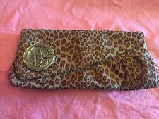 Guess Clutch Purse animal print Golden shimmer 11 1/4 inches by 5 1/4 inches