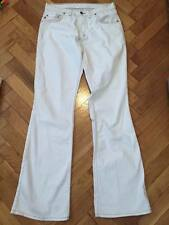 Mustang Bell Bottom jeans women Size 30 / 34 White color brown stitches