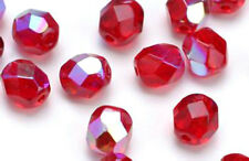 25 Ruby Red AB Czech Glass Faceted Round Beads 8MM