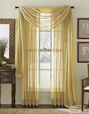 "Empire Home Solid Sheer Window Voile Scarf Valance 216"" Long Scarves Light Gold"