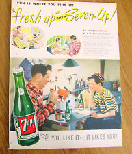 1947 7 up Soda Pop Bottle Ad Father Son Painting Bird Houses