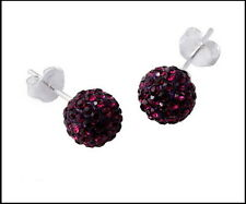 New Czech Crystal Ball Earrings with 925 Silver Studs in Purple