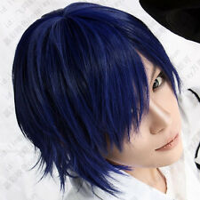 17 Short Dark blue vocaloid kaito party cosplay wig free shipping + wig cap