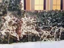 3pc Wire Frame Reindeer with Sleigh Lighted Christmas Sculpture Outdoor Decor