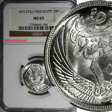 Egypt Silver AH1374//1955 10 Piastres NGC MS63 One Year Type KM# 383