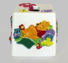 Winnie the Pooh DISNEY Tissue Box Cover 3D Raised Relief Hand Paint Ceramic NEW