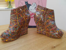 JEFFREY CAMPBELL TICK TAN WEDGE PEEP TOE ANKLE BOOTS SIZE UK 5 BNIB rrp £199.99