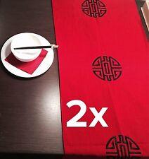 Neu Maison Strauss (Strauß) Asia China 2x Tischläufer Rot Schwarz Luxus 145x49cm