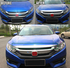FIT FOR 2016- HONDA CIVIC CHROME FRONT HOOD BONNET GRILL LIP MOLDING COVER TRIM