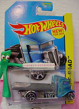 Case F 2014 Hot Wheels FAST-BED HAULER #105 US New Model~Candy Blue Cab~Off-Road