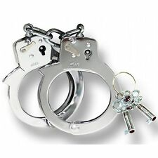 New Police Handcuff Chrome Steel Single Lock with 2 Keys *Made in Taiwan* X20011