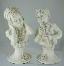 VINTAGE  1971 PIANO BUST FIGURINE BOY PLAYING SAXOPHON & GIRL PAIR SIGNED