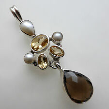 Solid 925 Sterling Silver Citrine Smoky Quartz Pearl Pendant Jewellery