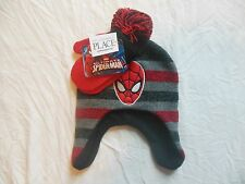 THE CHILDREN'S PLACE SPIDERMAN Beanie Hat & Mittens size S 12-24 months