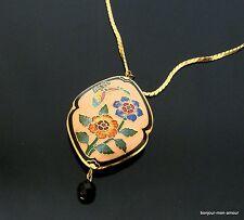 60s Cloisonne emaillierte Blumen Anhänger mit schwarzer Kristall Perle Halskette