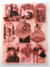 "Clear Stamps Sheet 7""x10"" ~ Vintage Fashion Chick Parisien FLONZ Rubber 403-129"