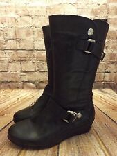 Ladies Clarks Black Leather Zip Fastening Mid Heel Mid Calf Boots UK 5.5