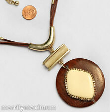 Chico's Signed Necklace Gold Tone  Brown Wood Ivory Color Layered Pendant