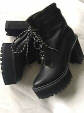 New Shelly's Indie Goth Grunge Black Leather Platform Lace Chunky Ankle Boots 6