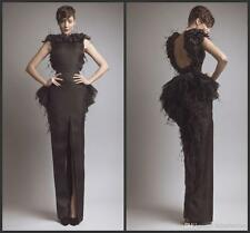 Feather Backless Evening Gowns Long Black Sleeveless Formal Dresses Custom