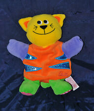 Peluche Doudou Marionnette Chat TIAMO Collection Orange Jaune  TTBE