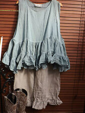ONE SIZE RITANOTIARA MAGNOLIA BOW TEAL BLUE PEARL PRAIRIE GYPSY TIERED TANK TOP