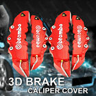 Red 4pcs 3D Brembo Style Disc Brake Caliper Covers Front and Rear Set Universal