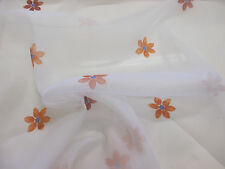 White with Orange Flower Petals, Floral Organza Curtain fabric. 152cm wide.