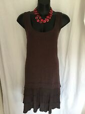 SIZE 16 Smart Flattering Charcoal Brown Comfy Dress With Detail