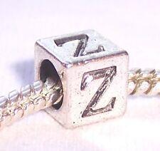 Zeta Symbol Uppercase Greek Letter Z Numeral Cube Bead for Euro Charm Bracelets