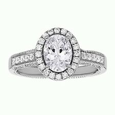 925 Sterling Silver Wedding Engagement Ring Oval Cut Crystals Cubic Zirconia